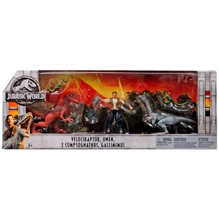 Jurassic World Fallen Kingdom Velociraptor, Owen, 2x Compsognathus & Gallimimus Action Figure 3-Pack](Jurassic World Owen)