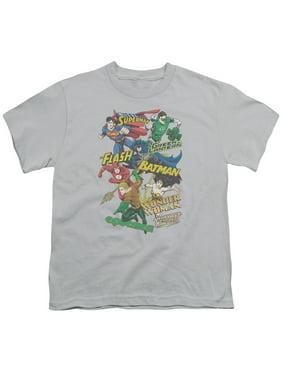 Jla - Justice Collage - Youth Short Sleeve Shirt - Large