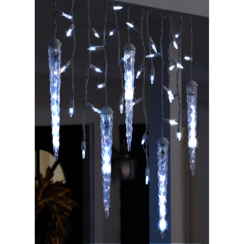 LightShow 87-Count LED Shooting Star Icicle Christmas Lights, Cool White, 9.5' Long