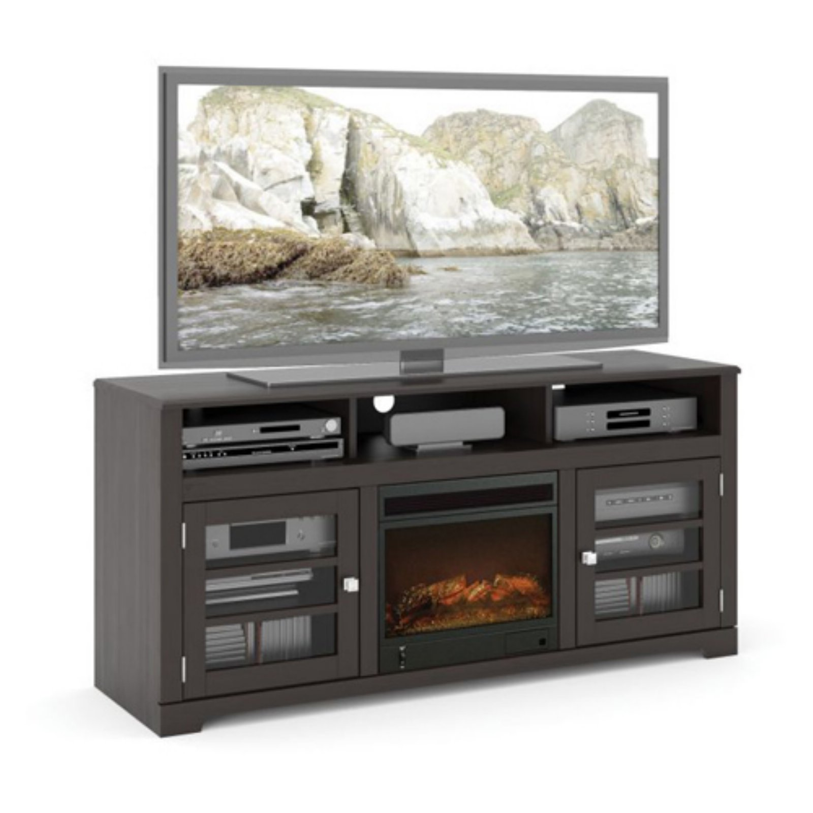 CorLiving F-602-BWT West Lake 60 in. Fireplace Bench Mocha Black by CorLiving