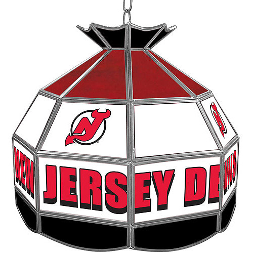 """Trademark Global NHL New Jersey Devils 16"""" Stained Glass Tiffany Lamp Light Fixture"""