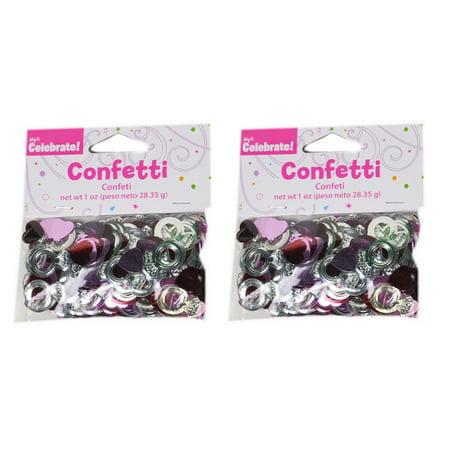 Foil Confetti Pink Red Hearts Silver Ring Wedding Shower Reception 2oz (2pks) - Wedding Confetti