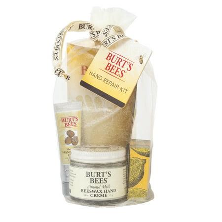 Burt's Bees Hand Repair Gift Set, 3 Hand Creams plus Gloves - Almond Milk Hand Cream, Lemon Butter Cuticle Cream, Shea Butter Hand Repair (Always Shea Butter Hand Cream)