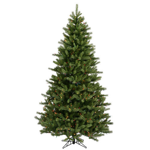 Vickerman Co. Black Hills Spruce 7.5' Green Artificial Christmas Tree with 700 Multicolored Lights with Stand