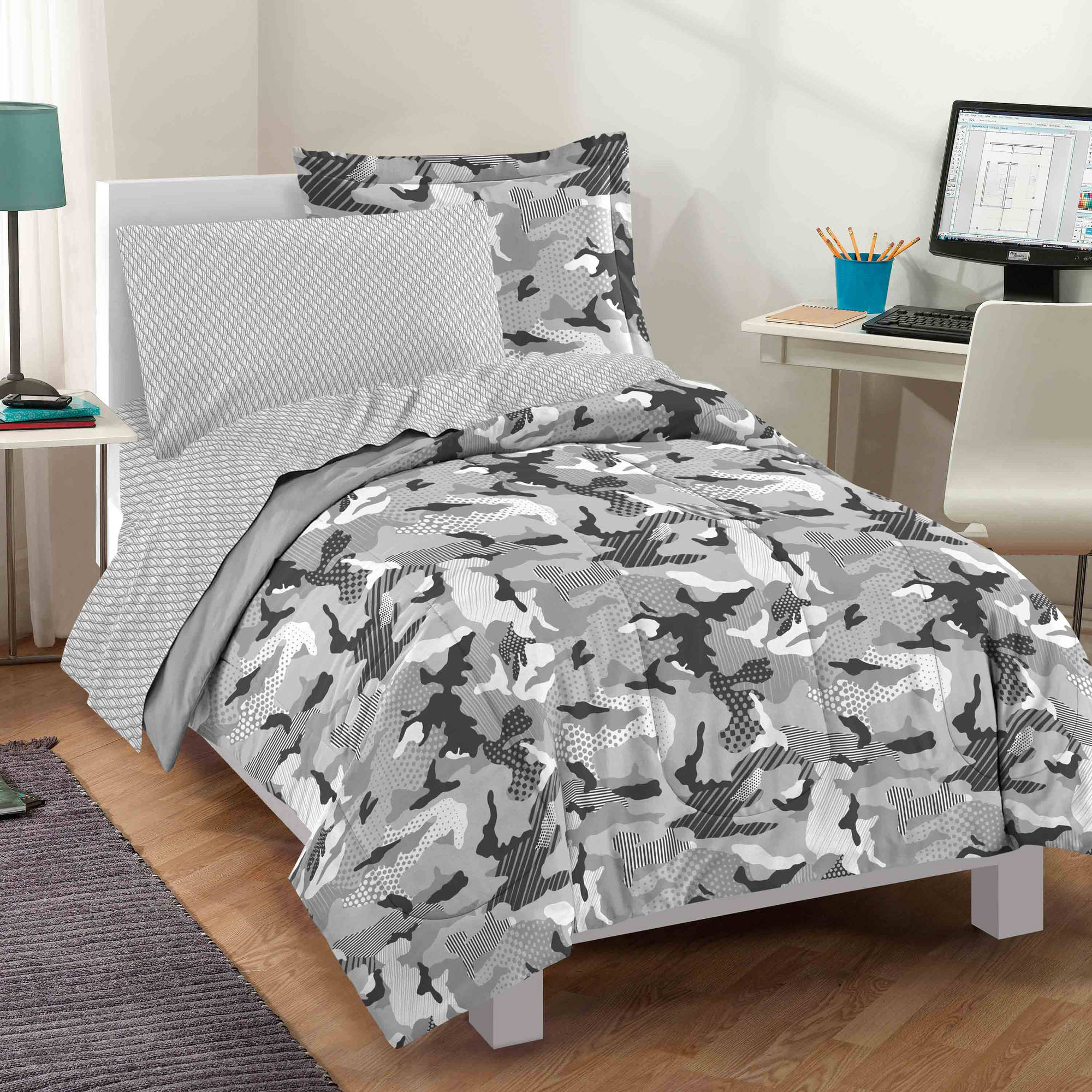 Dream Factory Geo Camo Grey Bed-in-a-bag