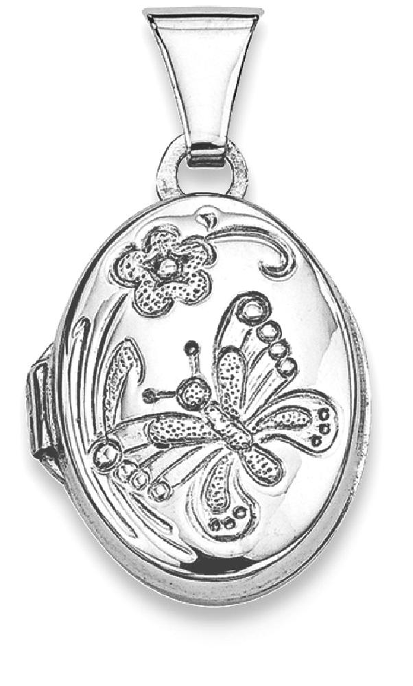 ICE CARATS 925 Sterling Silver Butterfly Oval Photo Pendant Charm Locket Chain Necklace That Holds Pictures Fine Jewelry... by IceCarats Designer Jewelry Gift USA