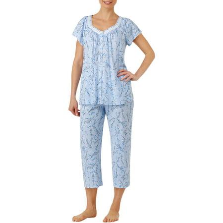 Secret Treasures Women's and Women's Plus Traditional Pajama Short Sleeve Sweetheart Neck Top and Capri Pant 2 Piece Sleepwear Set