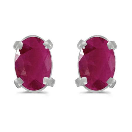 - 14k White Gold Oval Ruby Earrings