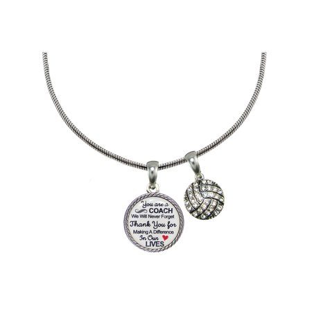 Volleyball Coach Thank You Gift Silver Necklace (Czech Jewelry)