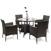 Costway 5PCS Patio PE Wicker Furniture Dining Set Cushioned Backyard Outdoor Garden Sofa