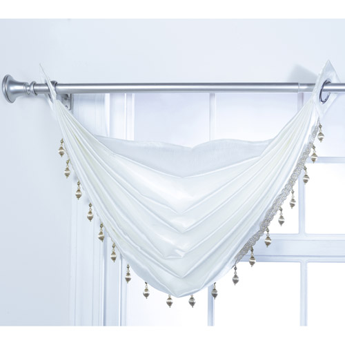Rivington Faux Silk Waterfall Valance with Beaded Trim