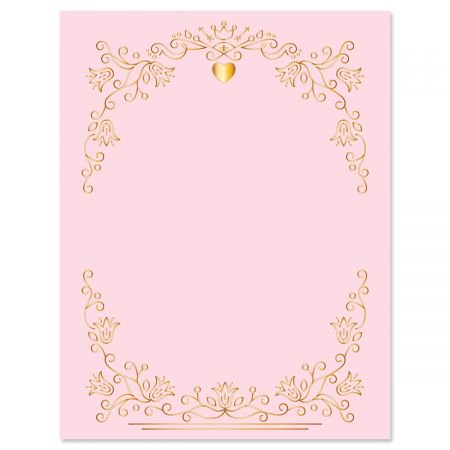 Gilded Romance Letter Papers - Set of 25 Valentine'stationery papers are 8 1/2