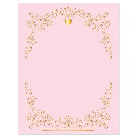 """Gilded Romance Letter Papers - Set of 25 Valentine'stationery papers are 8 1/2"""" x 11"""", compatible computer paper, great for Weddings Announcements, Anniversary Invitations, Valentine's Day Party"""
