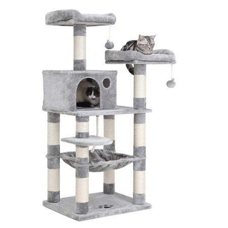 Grtsunsea Cat Tree Tower, Multi-Level Cat Climbing Tower with Sisal-Covered Scratching Posts, Plush Perches, Hammock and Condo, Cat Tower Furniture for Kittens, Cats and Pets