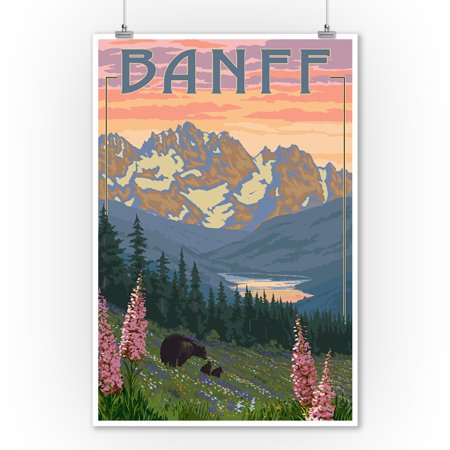 Banff, Alberta, Canada - Bears and Spring Flowers (with border) - Lantern Press Artwork (9x12 Art Print, Wall Decor Travel