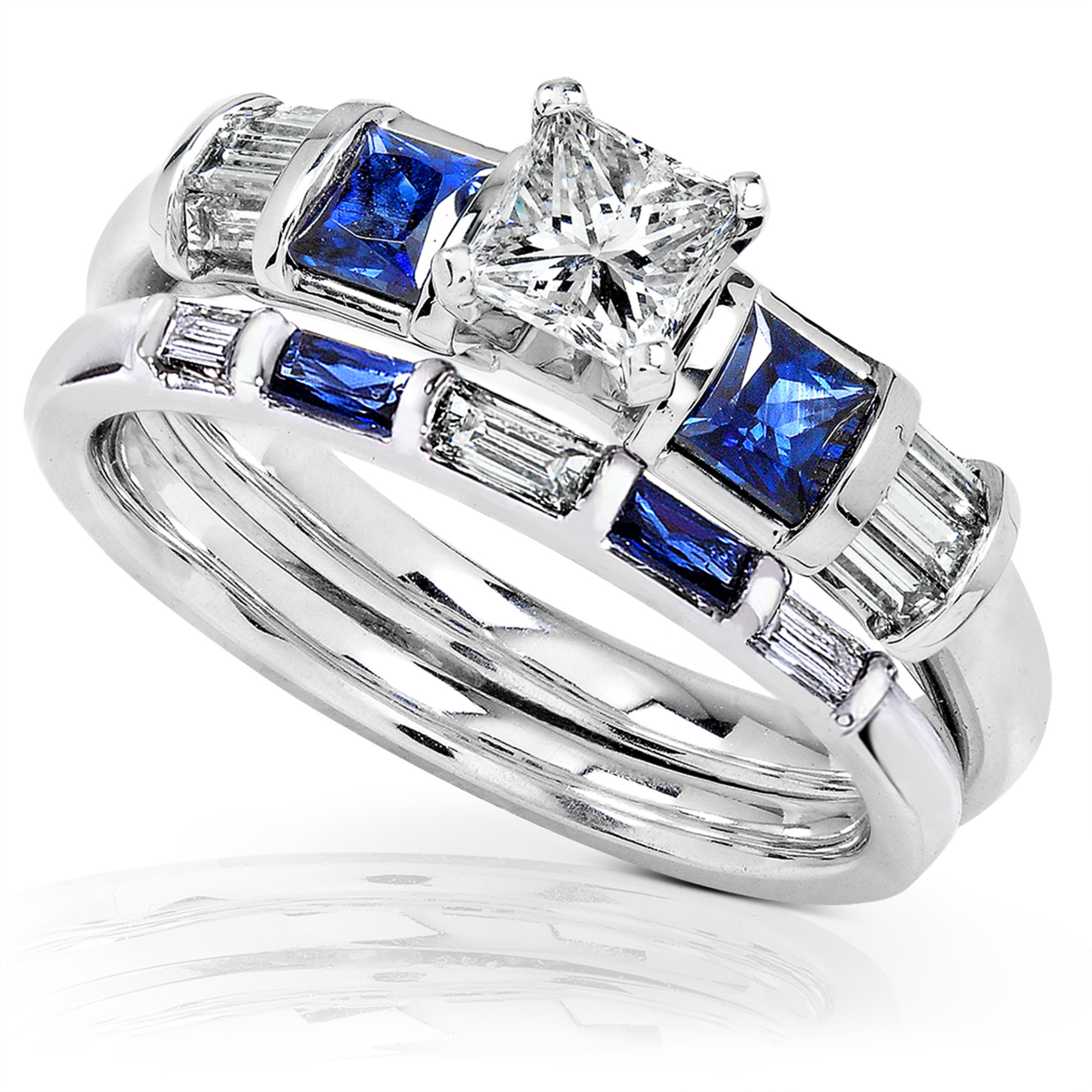 Blue Sapphire & Diamond Wedding Rings Set 1 Carat (ctw) In 14k White Gold by
