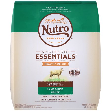 NUTRO WHOLESOME ESSENTIALS Natural Healthy Weight Adult Dry Dog Food Lamb & Rice Recipe, 30 lb. Bag