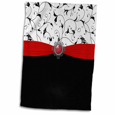 3dRose Pretty Black and White Filigree, Red Ribbon and Digital Jewel Design - Towel, 15 by 22-inch ()