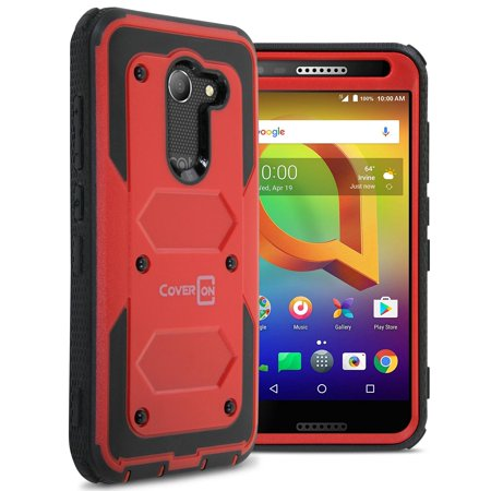 Three Way Zip Case (CoverON Alcatel A30 / Zip / Kora Case, Tank Series Hard Protective Armor Phone Cover (NOT FIT A30)