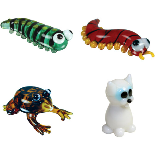 BrainStorm Looking Glass Miniature Glass Figurines, 4-Pack, Caterpillar/Centipede/Frog/White Cat