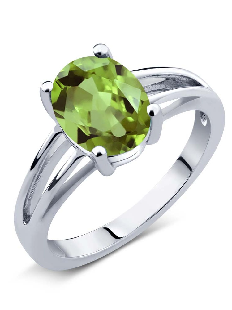 1.80 Ct Oval Green Peridot 925 Sterling Silver Women's Ring Sizes 5 to 9