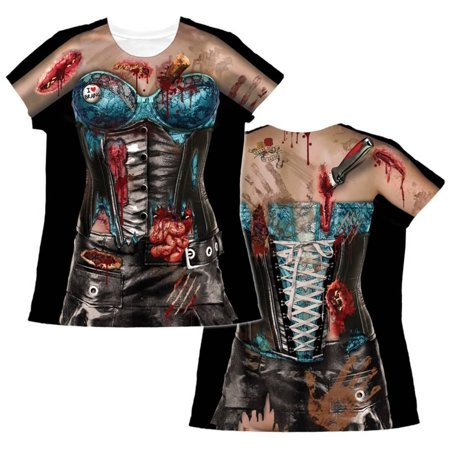 Womens: Corset Zombie Costume Tee Apparel Womens Sublimated - Sublimation - Zombie Outfits Womens