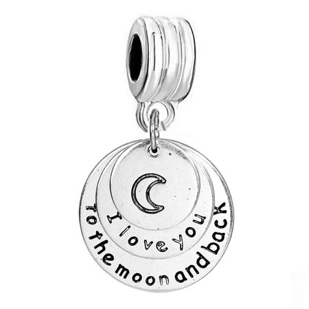 Half Moon Charm - SEXY SPARKLES I love you to the moon and back Charm spacer bead European Compatible Charm for Snake Chain bracelet & necklace