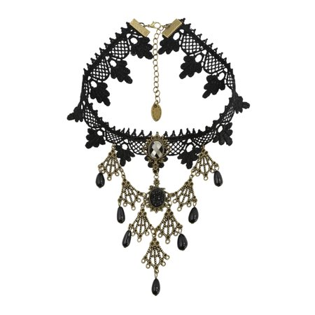 Beaded Lace Top - Women Beaded Rhinestone Decor Lace Statement Necklace Black