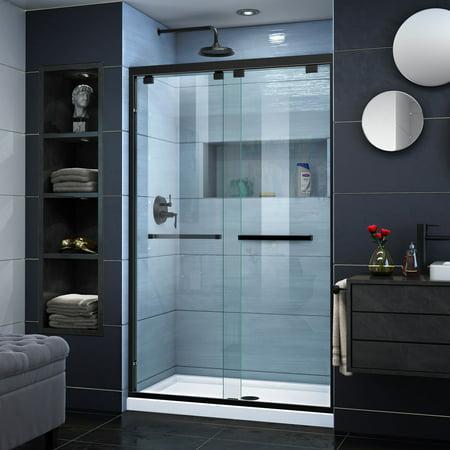 DreamLine Encore 44-48 in. W x 76 in. H Semi-Frameless Bypass Shower Door in Satin Black