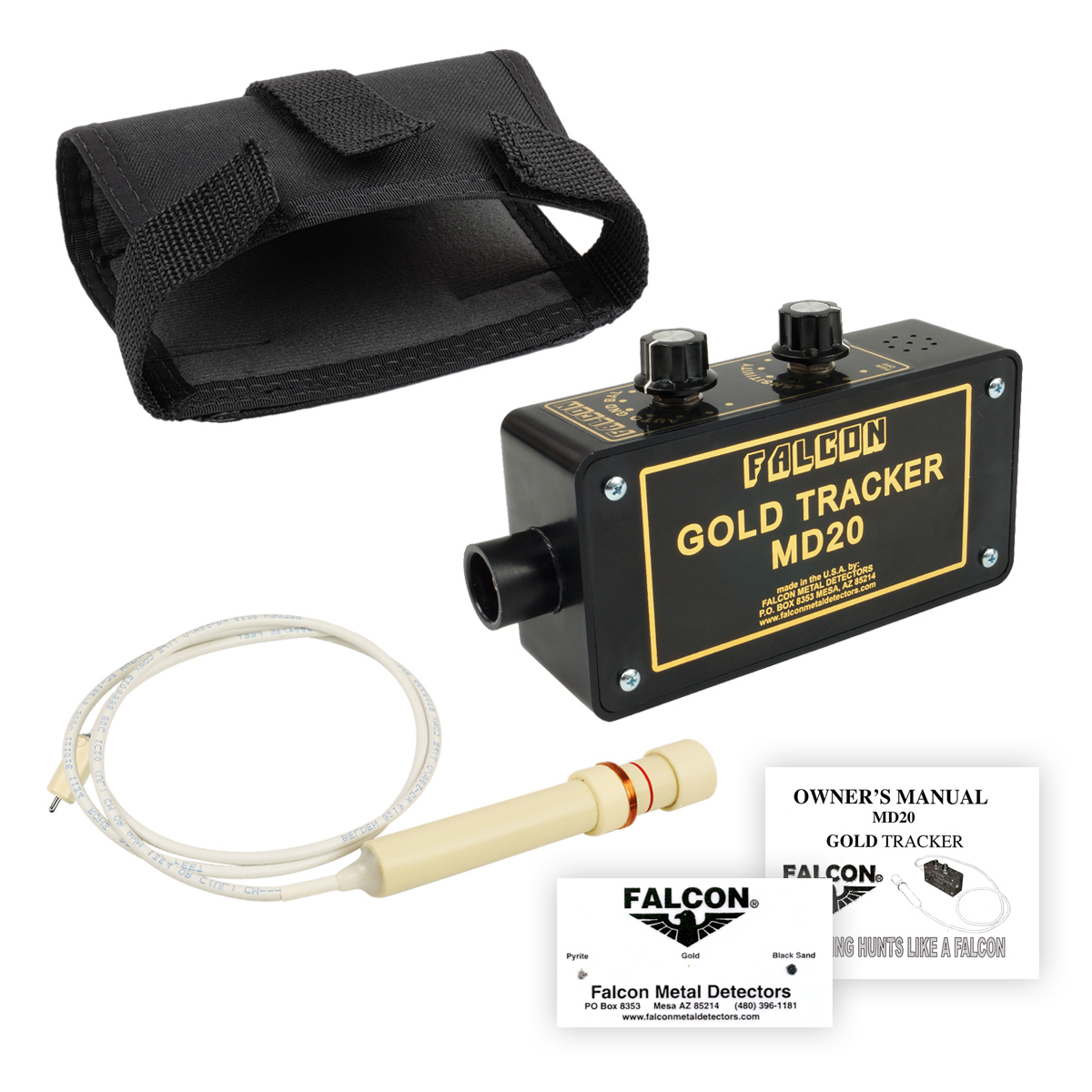 Falcon Gold Tracker MD20 Metal Detector 300kHz Probe with Belt Holster