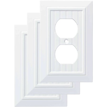 Cleaning Brass Plate (Franklin Brass Classic Beadboard Single Duplex Wall Plate in Pure White, 3-Pack )