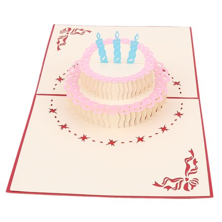 Birthday Paper 3D Cake Design Decoration Present Celebrating Greeting Card Red - image 1 of 4