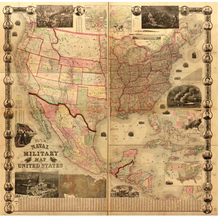 Naval Military Map Of The United States Poster Print Walmartcom - Us map poster walmart