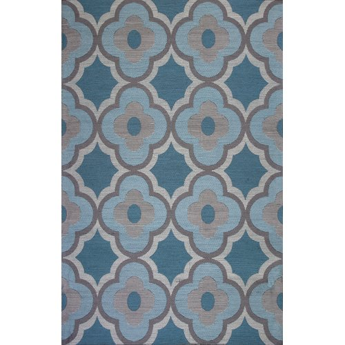 Red Barrel Studio Sealy Filigree Gray Blue Area Rug by