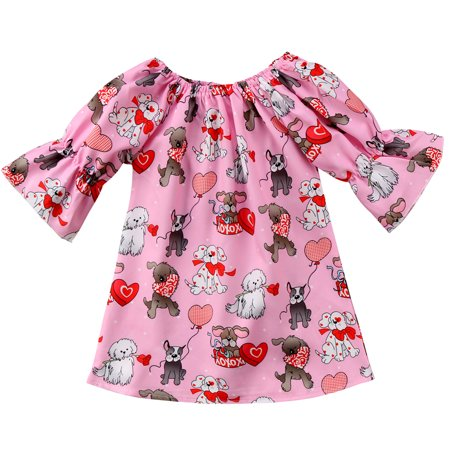 Cute Toddler Baby Girls Cartoon Animal Valentine's Day Dress Outfits