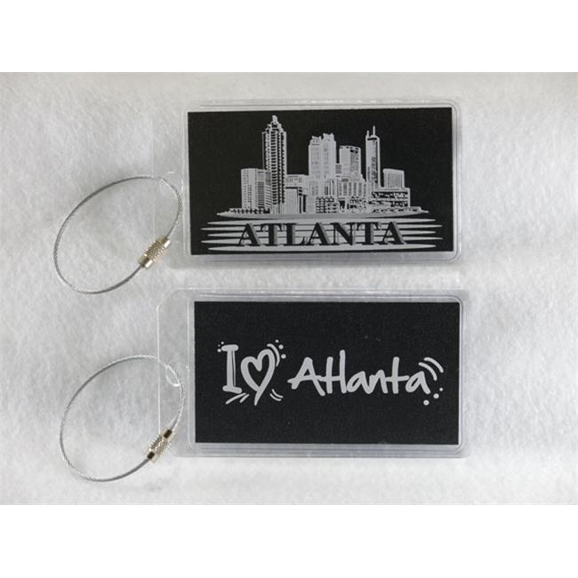 Destinations Neon Acrylic I. D.  Tag - Atlanta  Clear -pack of 2