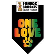 Fun Dog Bandana - ONE LOVE (rasta colors) - One Size Fits Most for Med to Lg Dogs, black pet scarf