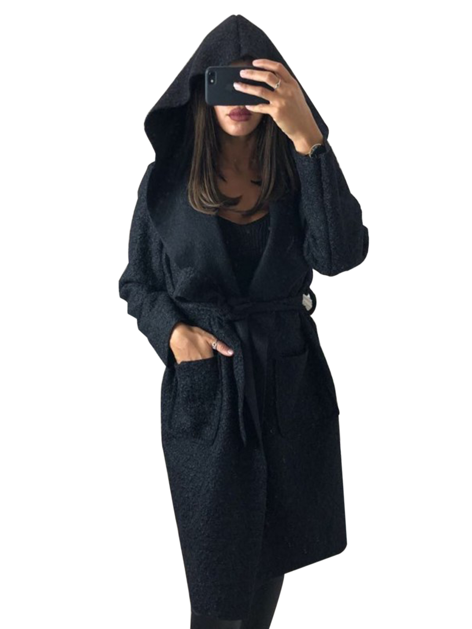 Women Hoodie Zip Sweatshirt Long Coat Jacket Top Cardigan Trench Parka Outerwear