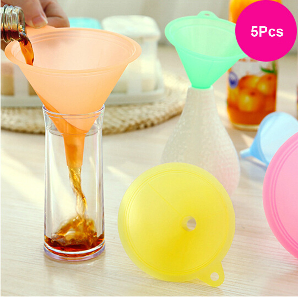 5 PCS Colorful Plastic Funnel Small Medium Large Variety Liquid Oil Kitchen Set by