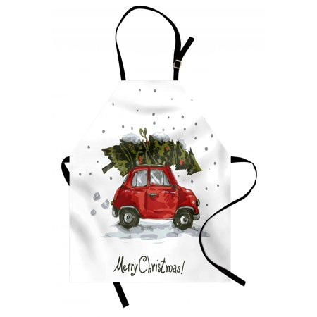 Christmas Apron Red Retro Style Car Xmas Tree Vintage Family Style Illustration Snowy Winter Art, Unisex Kitchen Bib Apron with Adjustable Neck for Cooking Baking Gardening, Red Green, by Ambesonne