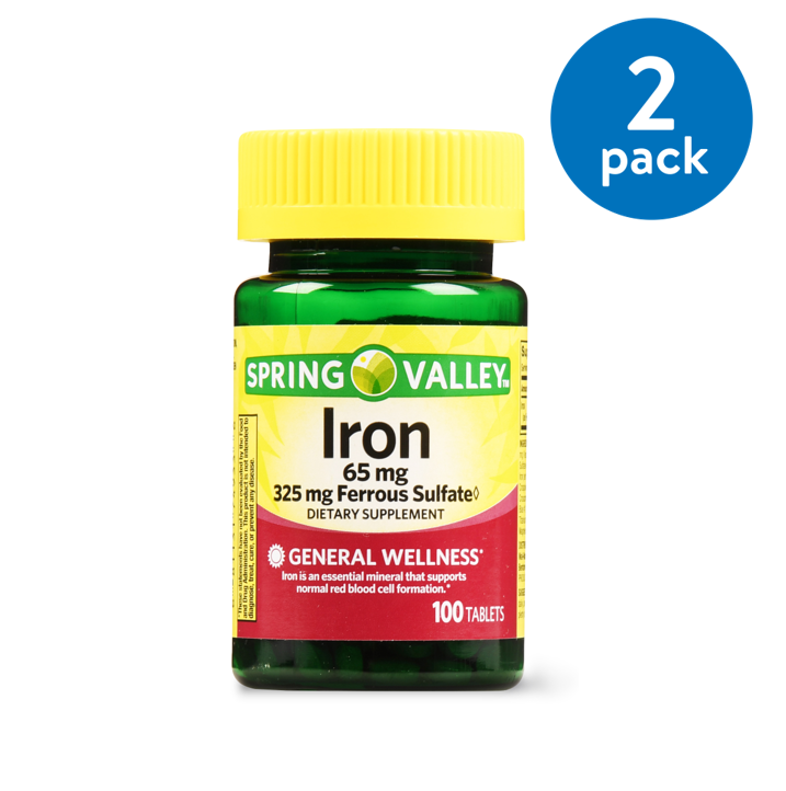 (2 Pack) Spring Valley Iron Supplement Tablets, 65 mg, 100 Ct