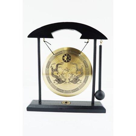 Double Dragon Zen Gong Yin Yang Bell Display Desk Tabletop Decor Gift Feng Shui Cleansing Resonator