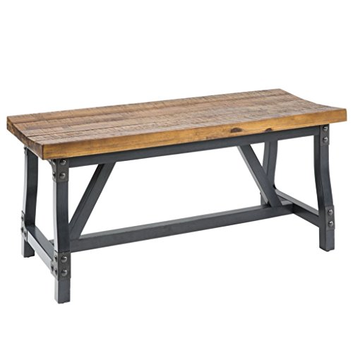 ModHaus Living Industrial Rustic Acacia Wood and Metal 44 inch Accent Dining Bench - Includes Pen