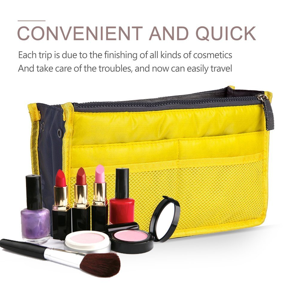 Multifunctional Double Zipper Polyester Makeup Bag Portable Travel Beauty  Cosmetic Bag Make Up Toiletry Bag With Handle yellow 3e91670046