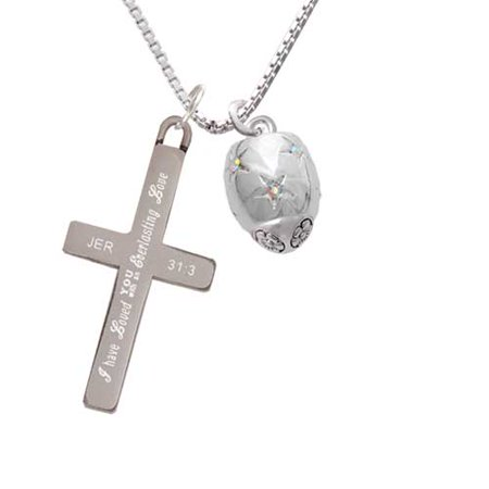 Silvertone Barrel with AB Clear Crystal Stars Spinner - Everlasting Love - Cross