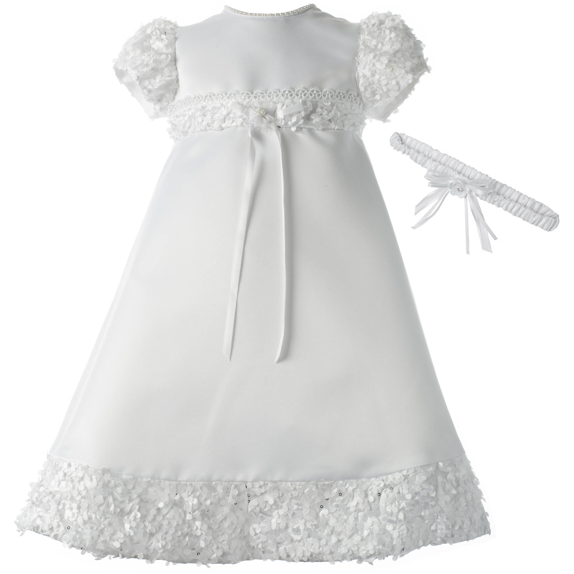 Christening Baptism Newborn Baby Girl Special Occasion Satin Dress Gown Outfit With Floral Soutache Trim