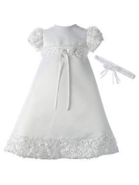 98662adced9 Product Image Christening Baptism Newborn Baby Girl Special Occasion Satin Dress  Gown Outfit With Floral Soutache Trim