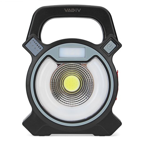 VADIV Work Light 4 Adjustable Brightness Rechargeable Flood Lamp Stand Security Spotlight for Camping Garage Garden Hurricane Yard, with USB Charging Ports and SOS Emergency (Sport Adjustable Stand)