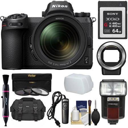 Nikon Z6 Mirrorless Digital Camera + 24-70mm f/4 S Lens with Mount Adapter FTZ + 64GB XQD Card + Case + Remote + Flash + LED + 3 Filters +