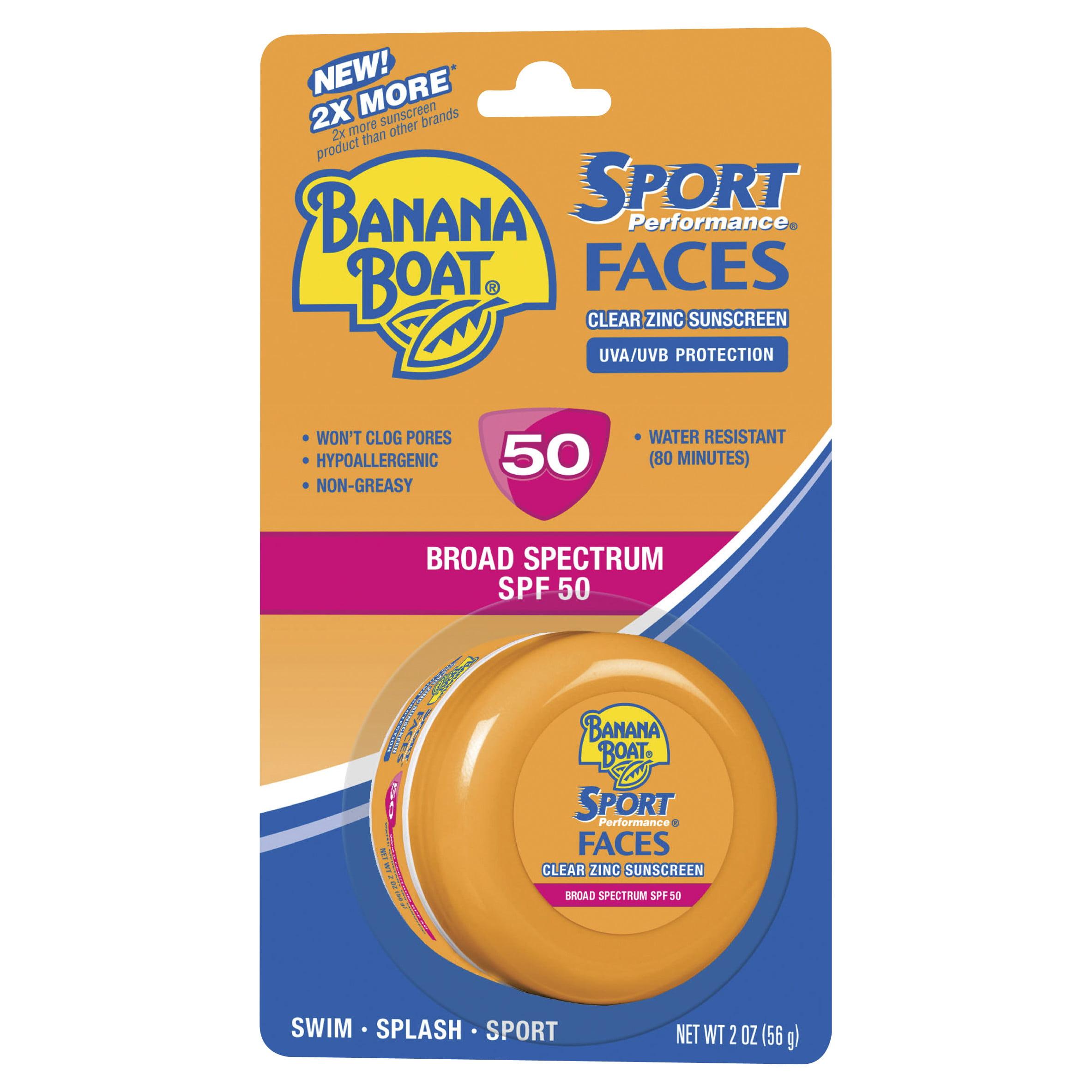 Banana Boat Sport Performance Faces Clear Zinc Sunscreen Lotion SPF 50, 2 Oz Jar
